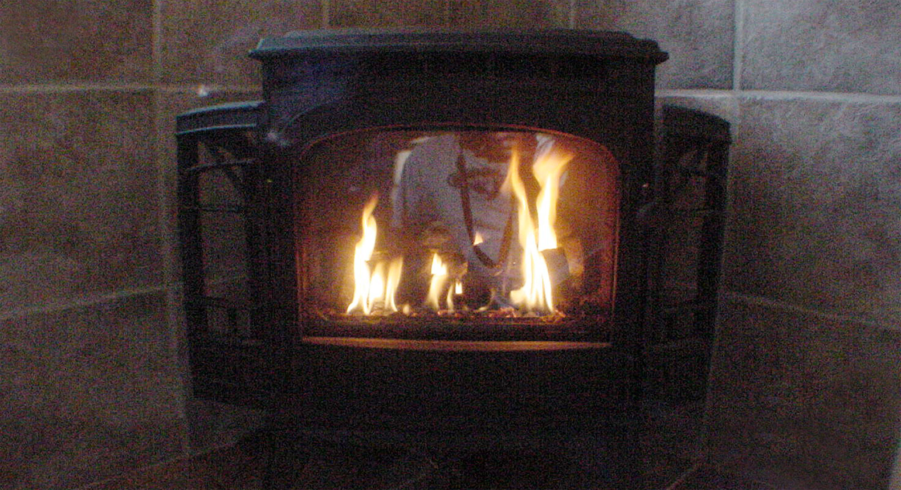 An up-close shot of the firepalce. Toasty!